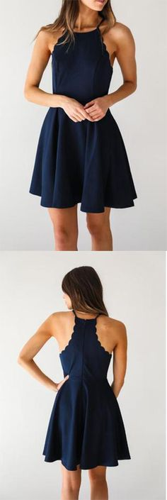 A Line Dark Navy Cute Halter High Neck Satin Short Homecoming Dress PM267