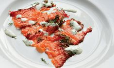 Beetroot-cured salmon with dill creme fraiche. Photograph: Simon Wheeler/Kyle Cathie