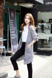 Buy mix knit buttonless cardigan at korean fashion store. find the hottest korean fashion trends popular in south korea here at our online korean clothing Korean Fashion Ulzzang, Korean Fashion Winter, Korean Fashion Summer, Korean Fashion Casual, Korean Fashion Trends, Korean Street Fashion, Korea Fashion, Asian Fashion, Korean Casual