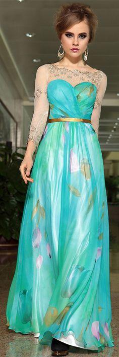 $199.99 Fresh Bateau Neckline Chiffon Prom Dress Floor Length