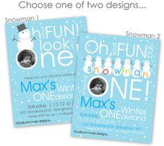 Snowman One-derland Birthday Invitations. $30.00, via Etsy.