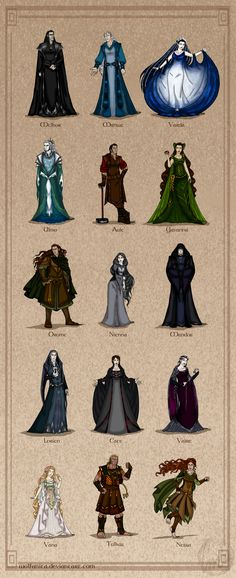 The Silmarillion: The Valar (Complete) by wolfanita.deviantart.com on @DeviantArt The Valar (basically, the gods) of Middle Earth. Melkor (upper-most left) would later become known as Morgoth. Aule created the Dwarves, and is known to them as Mahal. Nienna was Gandalf's teacher. Yavanna created the Ents (and some also credit her with the creation of Hobbits, though I think that her younger sister, Vana, is also a good candidate for that.)