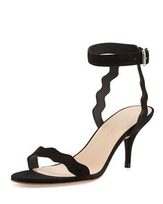 Reina+Scalloped+Nubuck+Sandal,+Black+by+Loeffler+Randall+at+Neiman+Marcus.