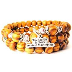 NATURAL WOOD WRAP BANGLE THE FAMILY IS GODS GREATEST MASTERPIECE BRACELET - See more at: http://www.chubbychicocharms.com #Quotes #Inspirational #Motivational #Love #Faith #HandMade