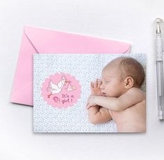 """Newborn greetings card, postcard, """"it's a girl"""", newborn announcement, A5    #Postcards #Greetingscards #Present #Gift  #Happybirthday #Newborn #Babyboy #Babygirl #Christmas #Wedding #Thanks #Easter #Papergoodies #Paper #PaperInk #Prints #Illustrations #Greetings #Other"""