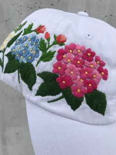 Your place to buy and sell all things handmade Hat Embroidery, Hand Embroidery Designs, Cross Stitch Embroidery, Embroidery Patterns, Embroidered Clothes, Embroidered Flowers, Bone Floral, Bone Bordado, Denim Crafts