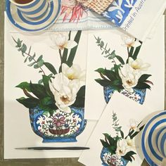 """Michelle Grayson on Instagram: """"These beautiful prints (and original) have just gone into the store. I know which print I would pair it with - paint bowl with orchids.…"""" White Art, Blue And White, Chanel Art, White Prints, Ginger Jars, Chinoiserie, Just Go, Orchids, Watercolor"""