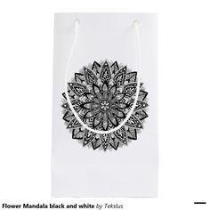 Flower Mandala black and white Small Gift Bag