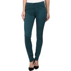 Hudson Nico Mid-Rise Super Skinny in Graphite Teal Women's Jeans,... ($123) ❤ liked on Polyvore featuring jeans, green, stretch jeans, blue jeans, lightweight jeans, super skinny jeans e zipper skinny jeans