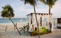 Beach beds at Grand Riviera Princess, Mayan Riviera, Mexico