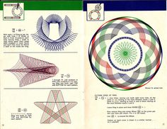 Direct scan of pages from the 1967 edition of the Spirograph instruction booklet. Spirograph Art, Hole Drawing, Drawing Machine, Cool Shapes, Map Art, Repeating Patterns, Pattern Books, String Art, Sacred Geometry