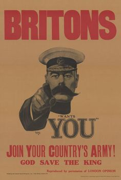 """Lord Kitchener Wants You"" recruitment poster for the British army in WWI. It was originall designed as a front cover for the mass market magazine ""London Opinion"", in a 1914 issue, and may never actually have been used widely as a poster during the war. Ww1 Propaganda Posters, World War One, First World, Pierrot Clown, Battle Of The Somme, History Magazine, Online Printing, Poster Prints, Illustrator"