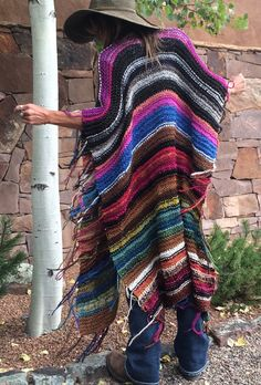 "LONG Handknit Womens Bohemian Festival  Hippie Beach Poncho Cape Shawl (""For Charlotte"")"