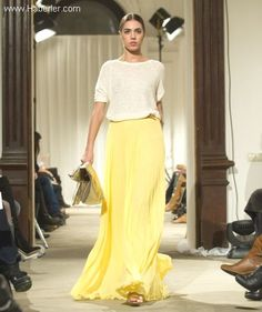 can't get enough of long skirts, love this yellow