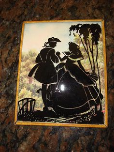 Vintage Single CONVEX GLASS SILHOUETTE Colonial Couple #Vintage Vintage Silhouette, List Of Artists, Mixed Media Art, Collage Art, Colonial, Stencils, Couples, Silhouettes, Glass