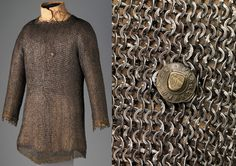 European (German) riveted mail hauberk, with makers mark, 15th century, steel, latten Dimensions: H. (as mounted) 36 in. (91.5 cm); Wt. 20 lb. (9071.9 g), Met Museum.