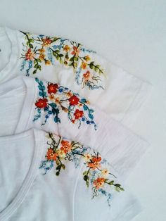 Most up-to-date Free of Charge Embroidery Patterns tshirt Style Stickmuster Salwar Kameez Stickmuster Blatt Stickerei Embroidery On Clothes, Embroidered Clothes, Hand Embroidery Patterns, Embroidery Designs, Embroidery Stitches, T Shirt Embroidery, Leaf Patterns, Embroidered Flowers, Geometric Embroidery