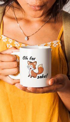 Funny Fox Mug | Fall Gift | Cute Gift for Her | Funny Coworker Gift Mug | Funny Coffee Mug -  American Made - White - Cup  - 11oz 15oz
