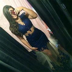 Dark Navy Mermaid Lace Sexy Prom Dress,Prom Dress,