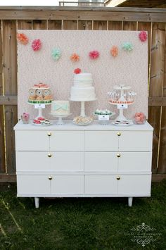 Awesome dessert table!  See more party ideas at CatchMyParty.com!  #partyideas #desserttable