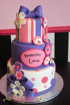 girl birthday cake baby shower cake princess 3 tier pink purple