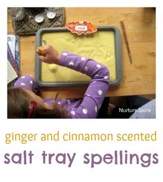 Great ideas for multi sensory learning: cinnamon and ginger salt tray to learn spellings. This would be fun to have the kids practice writing their names in it! Reading Activities, Literacy Activities, Activities For Kids, Preschool Literacy, Early Literacy, Preschool Themes, Kindergarten Teachers, Learn To Spell, Learn To Read