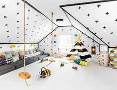 Attic Playroom - Design photos, ideas and inspiration. Amazing gallery of interior design and decorating ideas of Attic Playroom in living rooms, dens/libraries/offices, girl's rooms, boy's rooms by elite interior designers.
