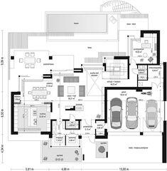 Rzut parteru projektu Willa Floryda Luxury House Plans, Modern House Plans, Residential Architecture, Architecture Design, Luxury Modern Homes, Craftsman House Plans, Building Plans, Planer, Floor Plans
