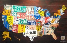 Use a license plate from each state to make a #map of #America! Thanks for the creative idea @americaproud