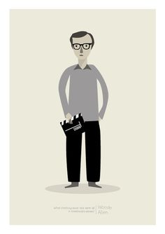 Woody Allen print by Judy Kaufmann from her etsy shop Woody Allen, Graphic Design Illustration, Illustration Art, Pigment Ink, Screen Printing, Poster Prints, Posters, Layout, My Love