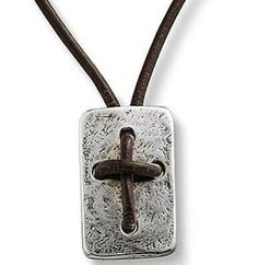 James Avery Sterling Silver Hand Knotted Leather Cross Shield Necklace, Womens, Sterling Silver
