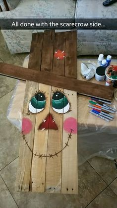 Pallet scarecrow I made.  Super adorable!  Pinterest project passed.