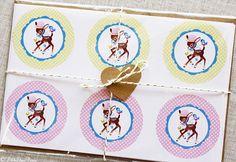 Retro Birthday Top Hat Deer Stickers 24 door LittleDearPrints, $5.00