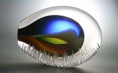 Leerdam Glassblowing: Unusual glass art object blown by master glassmaker Gert Bullee designed by Patrick de Keijzer