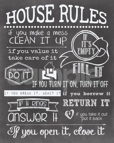 Items similar to House Rules Chalkboard Digital Art Print on Etsy Diy House Signs, House Rules Sign, Family Rules Sign, Home Signs, Home Rules, Home Quotes And Sayings, Sign Quotes, Kitchen Rules, Trendy Home