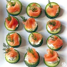 """Cucumber Cups with Dill Cream and Smoked Salmon I """"Classic combos are classic because the flavors go well together! Dill, cucumber, and smoked fish are combined with a bit of lemon to perk things up. Smoked Salmon Appetizer, Smoked Salmon Recipes, Smoked Fish, Smoked Trout, Smoked Salmon Platter, Cucumber Cups, Cucumber Bites, Cucumber Appetizers, Easy Canapes"""