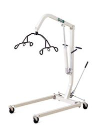 A patient lift is an automatic tool that is utilized by healthcare professionals and caregivers to move physically disabled individuals for a bed to a chair, wheelchair or toilet when the disabled individual is immobile.  They can also be used to assist in standing from a seated position.  Manual versions have hydraulic cylinders and a hand pump while the powered lifts utilize rechargeable battery packs and a push button hand control.