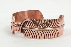 Authentic Native American Contemporary Navajo Copper Feather Bracelet by Douglas Etsitty