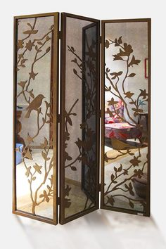 'Birds on Branches' laser cut foldable antique mirrored privacy panel- Kuş Desenli Katlanır Lazer Kesim Antik Aynalı Seperatör