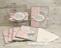 Beautiful vintage set of Christmas cards with blush tones and silver accents all presented in a clear gift box. Uses Snowflake Sentiments from Stampin' Up!