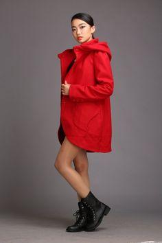 Hooded jacket winter coat autumn cashmere wool coat hooded