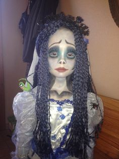My six year old let me dress her as Emily from Corpse Bride