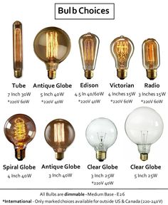 Antique Bulbs Many Styles! Vintage Industrial Tungsten Filament Edison Globe, Radio, Squirrel Cage by HangoutLighting on Etsy https://www.etsy.com/listing/218004279/antique-bulbs-many-styles-vintage