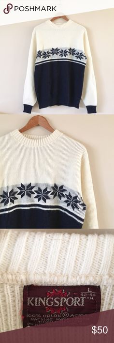 70s / Aspen Sweater Soft thick knit sweater with Nordic snowflake design. Great vintage condition!  BRAND: Kingsport  MATERIAL: acrylic YEAR/ERA: 70s LABEL SIZE: L BEST FIT: M  MEASUREMENTS: Chest 20.5 inches Length 27 inches  🚫 I do not model or trade, sorry! 💟 Check out my closet for more vintage!     0005 Vintage Sweaters Crew & Scoop Necks