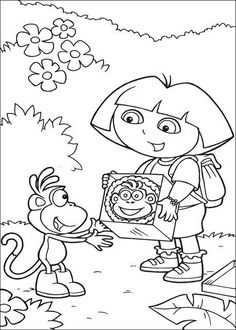 Dora the Explorer crafts for kids puzzles to cut out 8 Dora Coloring, Free Coloring, Coloring Pages For Kids, Coloring Sheets, Coloring Books, Colouring, Online Coloring Pages, Printable Coloring Pages, Dora Diego