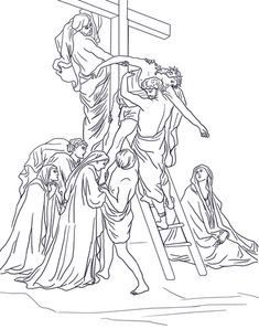 Thirteenth Station - Jesus is Taken Down from the Cross Coloring page from Good Friday category. Select from 20820 printable crafts of cartoons, nature, animals, Bible and many more. Cross Coloring Page, Jesus Coloring Pages, School Coloring Pages, Free Printable Coloring Pages, Coloring Book Pages, Flower Line Drawings, Bible Story Crafts, Religion Catolica, Sunday School Crafts