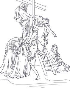 Tredicesima stazione - Gesù è deposto dalla croce Disegno da colorare