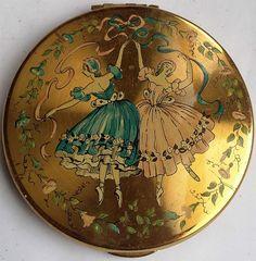 Vintage Kigu Ballet Dancer Powder Compact
