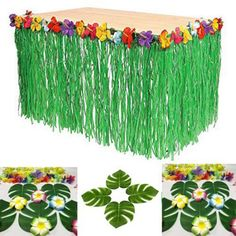 Hawaiian Luau Hibiscus Green String & Colorful Silk Faux Flowers Table Hula Grass Skirt for Party Decoration, Events, Birthdays, Celebration Pack) by Super Z Outlet Aloha Party, Hawaiian Luau Party, Moana Birthday Party, Hawaiian Birthday, Luau Birthday, Tiki Party, Tropical Party, Birthday Parties, 21st Party