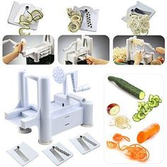 Spiral Vegetable Slicer Spiralizer Veggie Chopper Mandolin Cutter Shred Kitchen Tools 3 Stainless Steel Blades *** Click on the image for additional details.Note:It is affiliate link to Amazon.